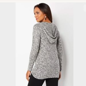 de71ad2743a Christopher   Banks Tops - Plus Size Shirred Hatchi Knit Hooded Pullover